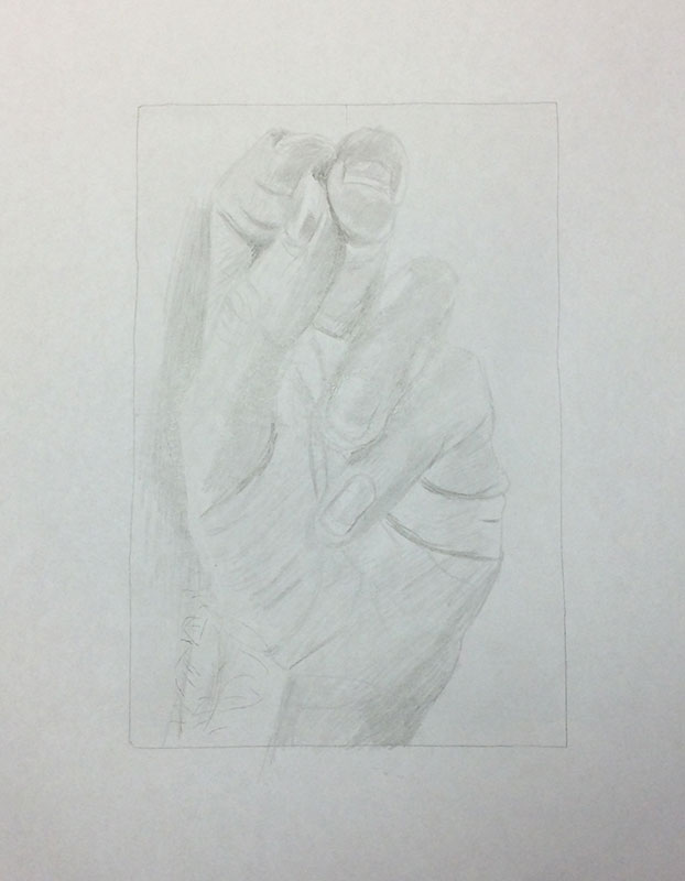 Drawing my Hand Exercise, by Artist Sophie Lawson