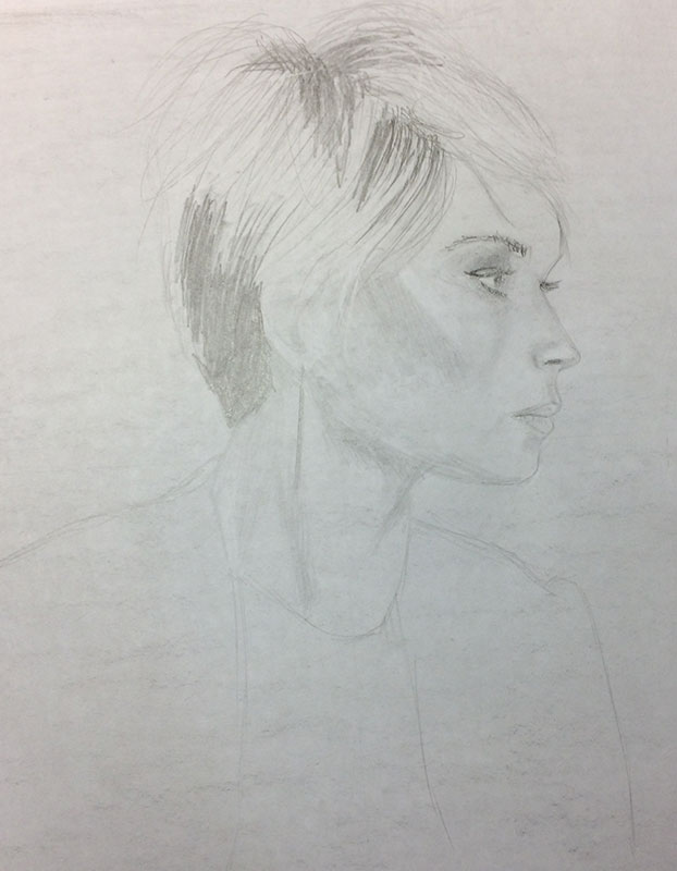 Drawing a Profile Portrait Exercise, by Artist Sophie Lawson