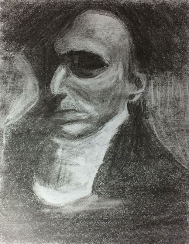 Steichen Self Portrait Copy Exercise, by Artist Sophie Lawson