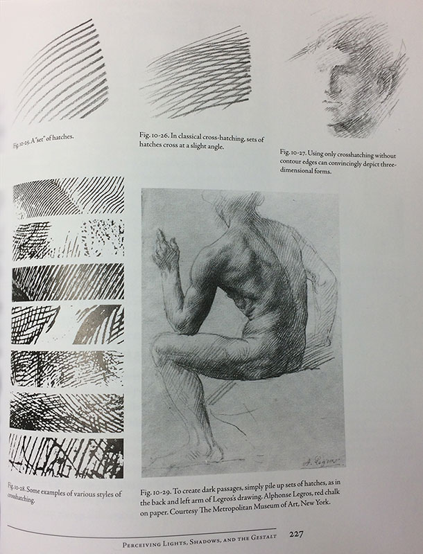 Page 227 - Examples of Crosshatching, Drawing on the Right Side of the Brain by Betty Edwards