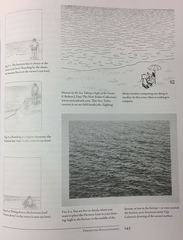 Page 143 - Examples of the Horizon Line, Drawing on the Right Side of the Brain by Betty Edwards