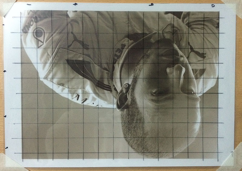 Step 7, Turn Reference Upside down | How to Grid Portraits, by Artist Sophie Lawson