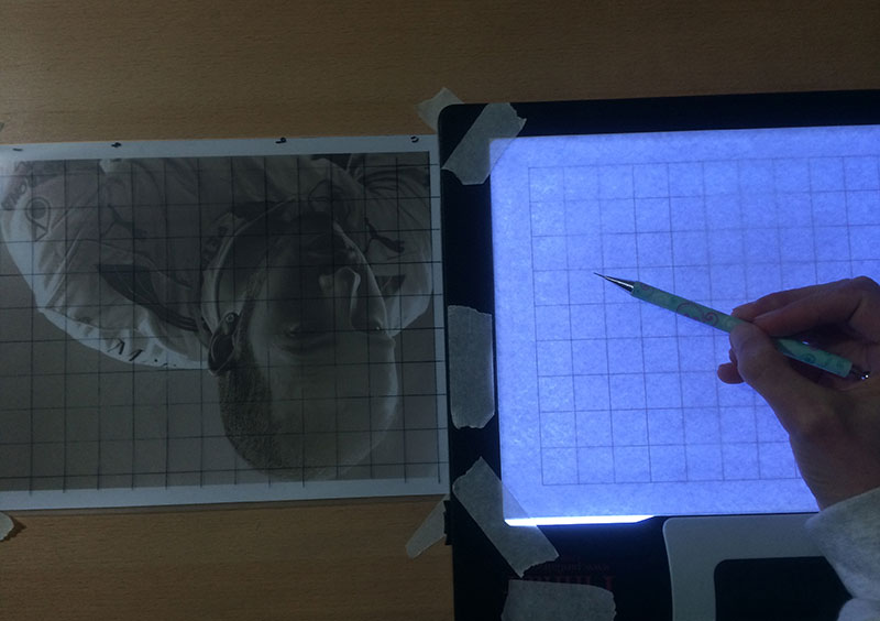 Step 6 - Line Up your Paper on the Lightbox | How to Grid Portraits, by Artist Sophie Lawson