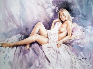 Model with White Drape by Inspirational Artist Gordon King