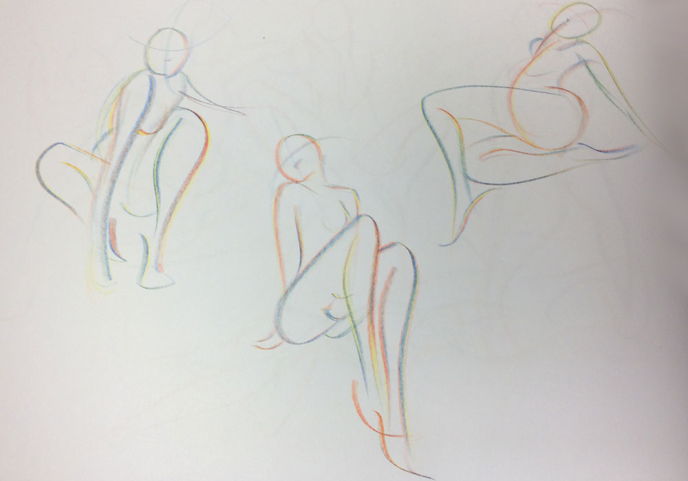 Gesture Drawing Exercise, by Artist Sophie Lawson