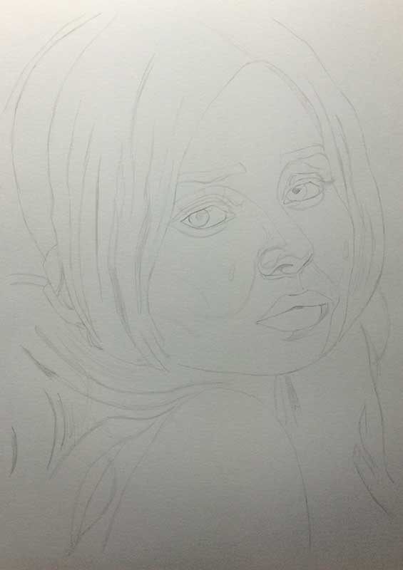 Emily Browning as Babydoll pencil drawing. Work in Progress Image 1, by Artist Sophie Lawson