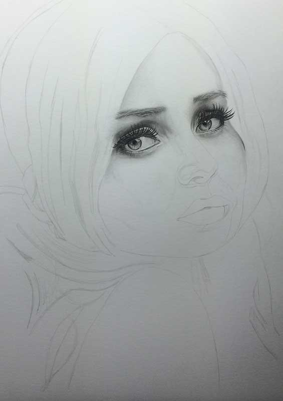 Emily Browning as Babydoll pencil drawing. Work in Progress Image 2, by Artist Sophie Lawson