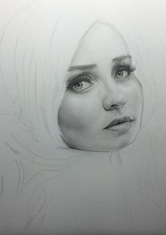 Emily Browning as Babydoll pencil drawing. Work in Progress Image 3, by Artist Sophie Lawson