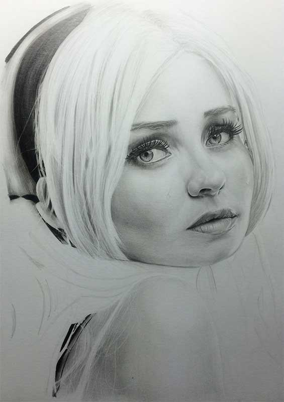 Emily Browning as Babydoll pencil drawing. Work in Progress Image 4, by Artist Sophie Lawson