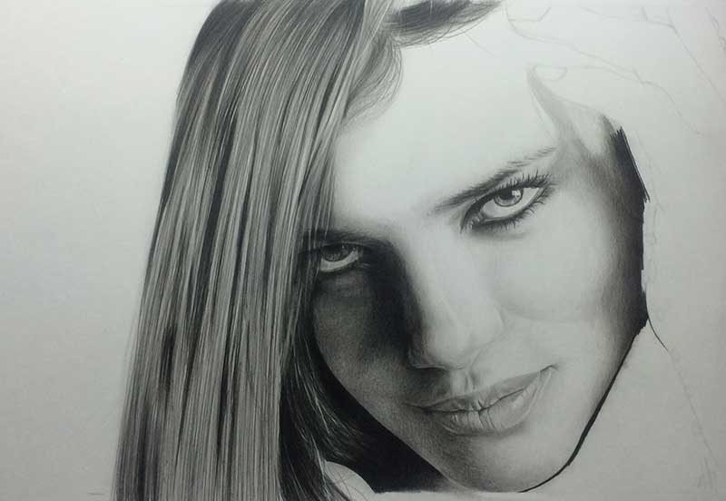 Realistic Pencil Drawing of Victoria's Secret model Adriana Lima. Work in Progress image 3, by Artist Sophie Lawson