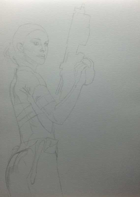 Natalie Portman playing Padme Amidala in STAR WARS. Realistic Pencil Drawing Work in Progress image 1, by Artist Sophie Lawson
