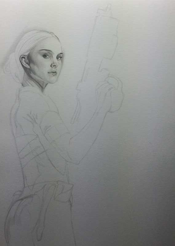 Natalie Portman playing Padme Amidala in STAR WARS. Realistic Pencil Drawing Work in Progress image 2, by Artist Sophie Lawson