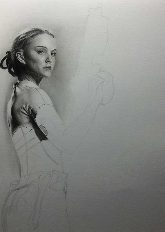 Natalie Portman playing Padme Amidala in STAR WARS. Realistic Pencil Drawing Work in Progress image 3, by Artist Sophie Lawson