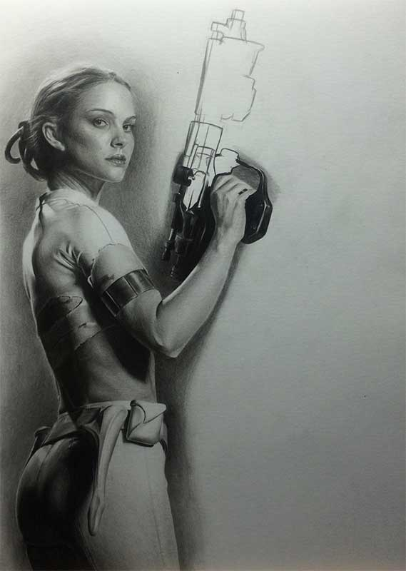 Natalie Portman playing Padme Amidala in STAR WARS. Realistic Pencil Drawing Work in Progress image 4, by Artist Sophie Lawson