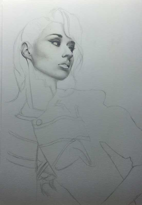 Singer Iggy Azalea, Realistic Pencil Drawing Work in Progress image 2, by Artist Sophie Lawson
