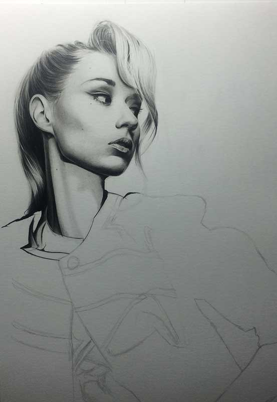 Singer Iggy Azalea, Realistic Pencil Drawing Work in Progress image 3, by Artist Sophie Lawson