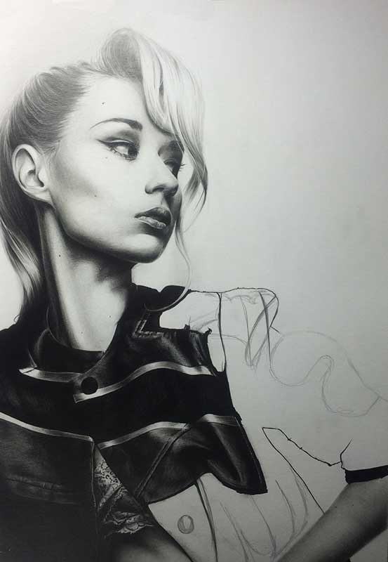 Singer Iggy Azalea, Realistic Pencil Drawing Work in Progress image 4, by Artist Sophie Lawson