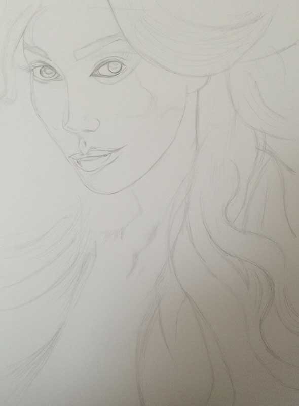 Yasmine Petty, Realistic Pencil Drawing Work in Progress image 1, by Artist Sophie Lawson