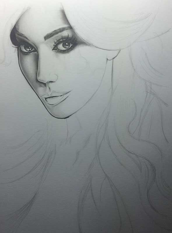 Yasmine Petty, Realistic Pencil Drawing Work in Progress image 2, by Artist Sophie Lawson