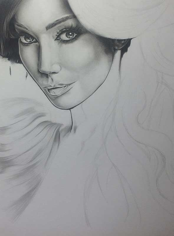 Yasmine Petty, Realistic Pencil Drawing Work in Progress image 3, by Artist Sophie Lawson