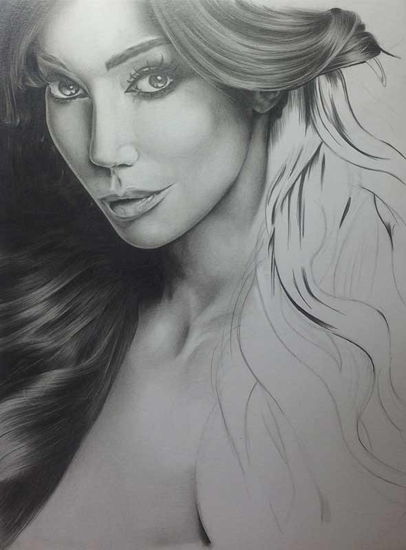 Yasmine Petty, Realistic Pencil Drawing Work in Progress image 4, by Artist Sophie Lawson