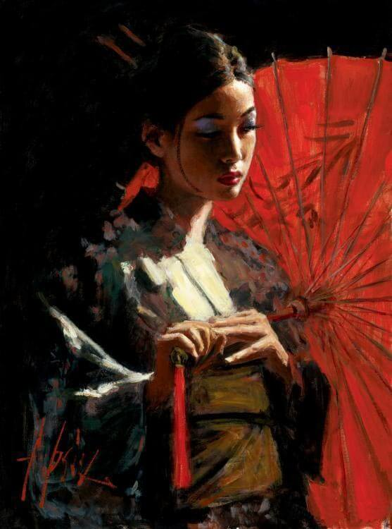 Michiko with Umbrella by Traditional Artist Fabian Perez