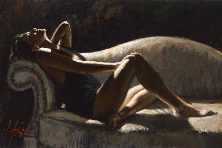 Paola on the Couch by Traditional Artist Fabian Perez