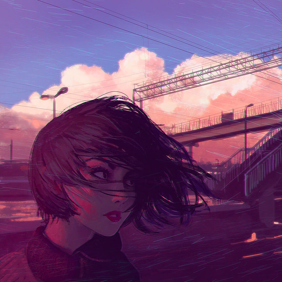 Sunset Railroad by Digital Artist Ilya Kuvshinov