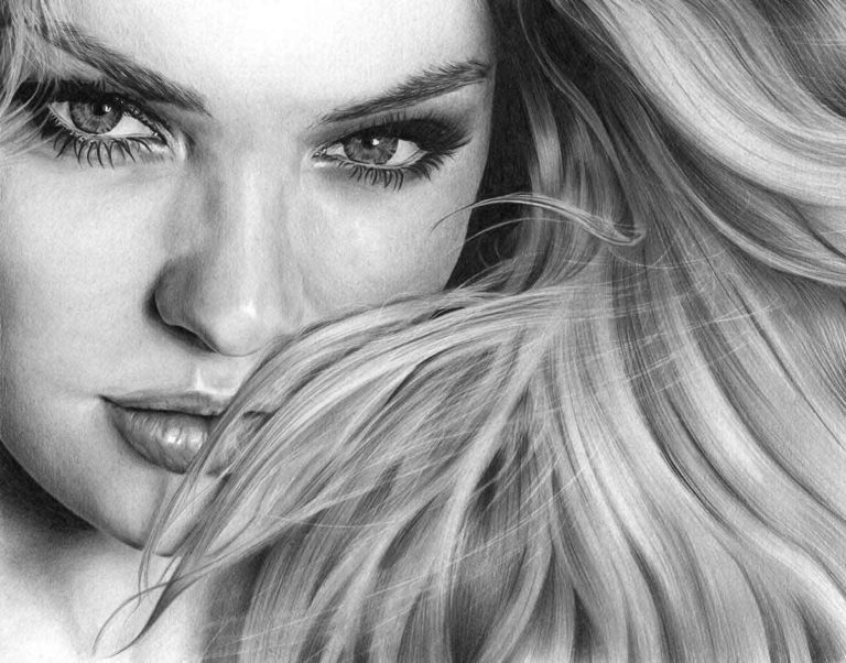 Realistic Pencil Drawing of Victoria's Secret model Candice Swanepoel, by Transgender Artist Sophie Lawson