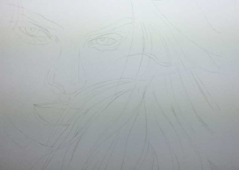 Realistic Pencil Drawing of Victoria's Secret model Candice Swanepoel WIP 1, by Transgender Artist Sophie Lawson