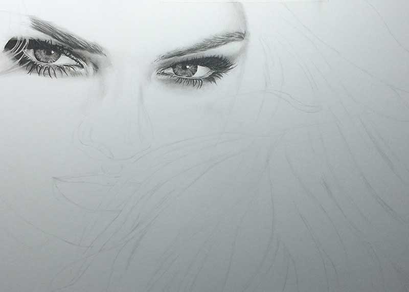 Realistic Pencil Drawing of Victoria's Secret model Candice Swanepoel WIP 2, by Transgender Artist Sophie Lawson