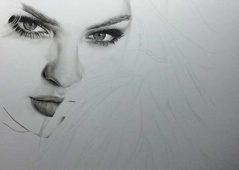 Realistic Pencil Drawing of Victoria's Secret model Candice Swanepoel WIP 3, by Transgender Artist Sophie Lawson