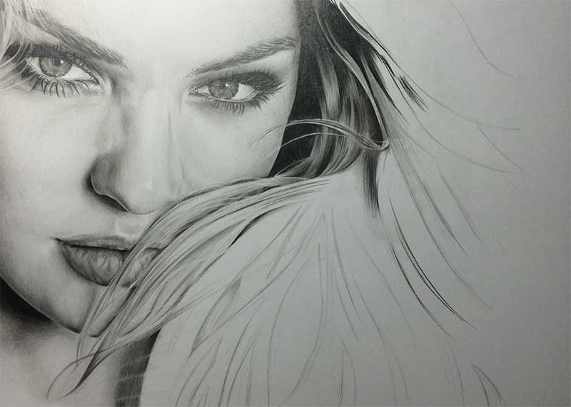 Realistic Pencil Drawing of Victoria's Secret model Candice Swanepoel WIP 4, by Transgender Artist Sophie Lawson