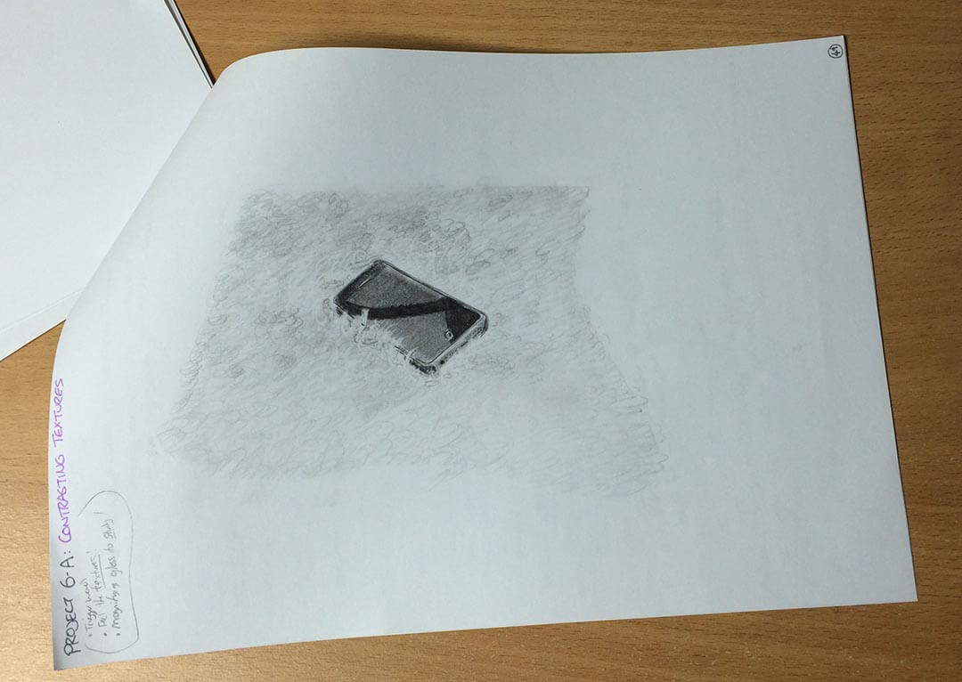 Rereading Keys to Drawing by Bert Dodson - Contrasting Textures exercise, by Artist Sophie Lawson