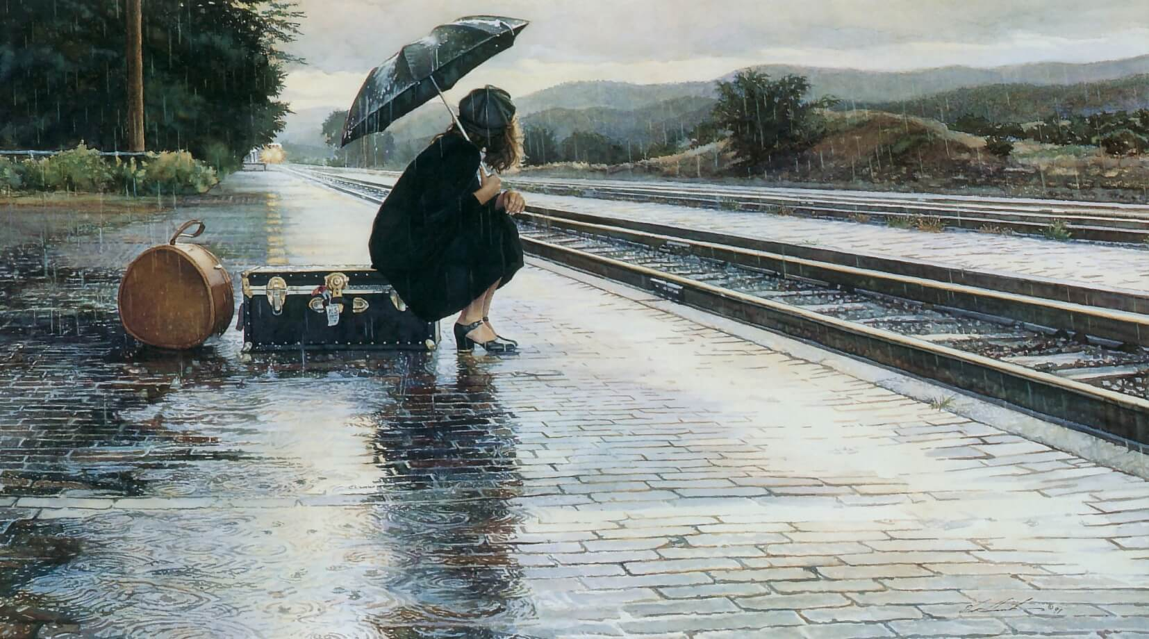 Leaving in the Rain, by Traditional Artist Steve Hanks