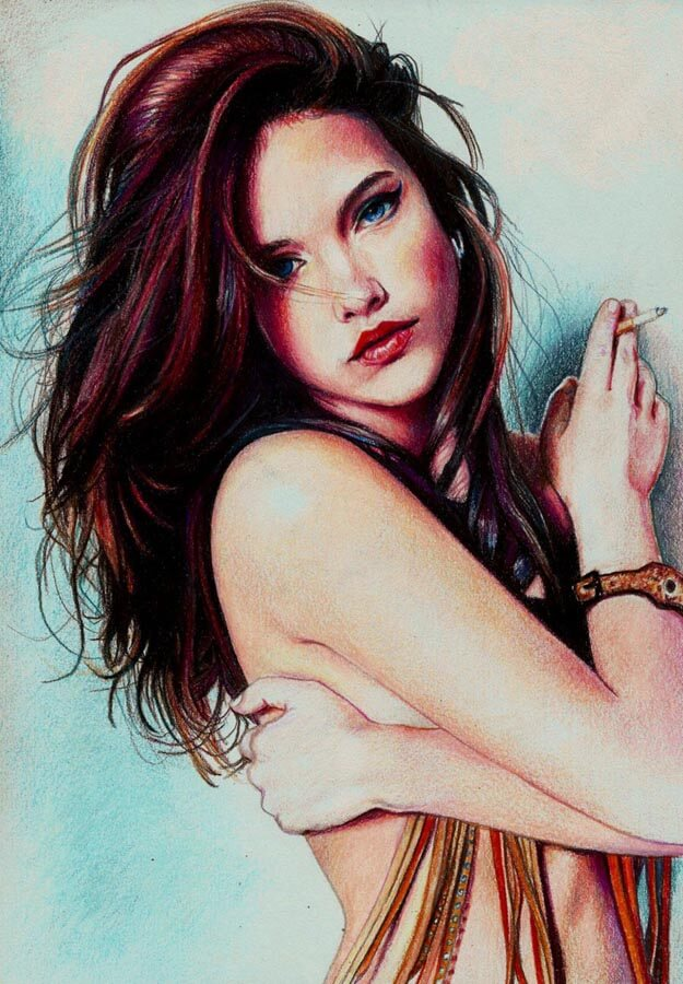 Inspirational Coloured Pencil Artwork entitled Barbara Palvin, by Artist Pevansy