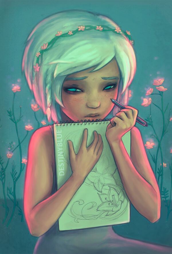 Inspirational Digital Artwork entitled Don't watch me draw... by Artist DestinyBlue