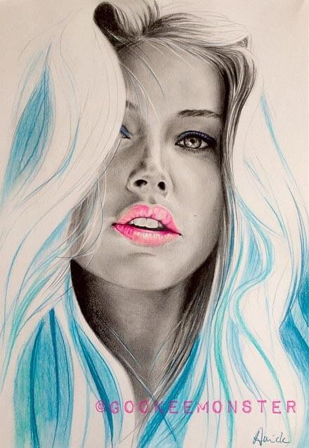 Inspirational Coloured Pencil Artwork entitled Doutzen Kroes, by Artist Annick Goeke a.k.a GookeeMonster