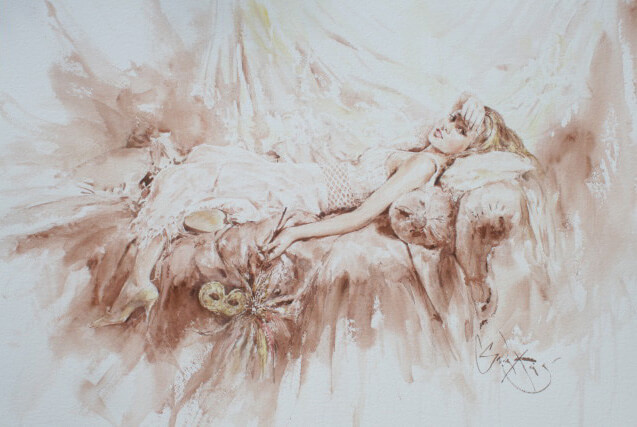 Inspirational Watercolour Artwork entitled Mask of Love, by Artist Gordon King