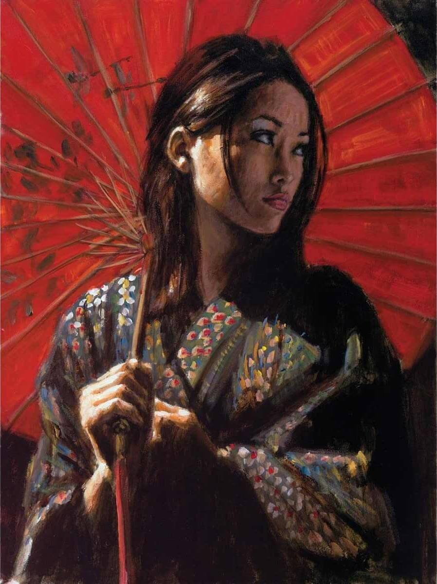 Inspirational Oil Painting Artwork entitled Michiko ii, by Artist Fabian Perez