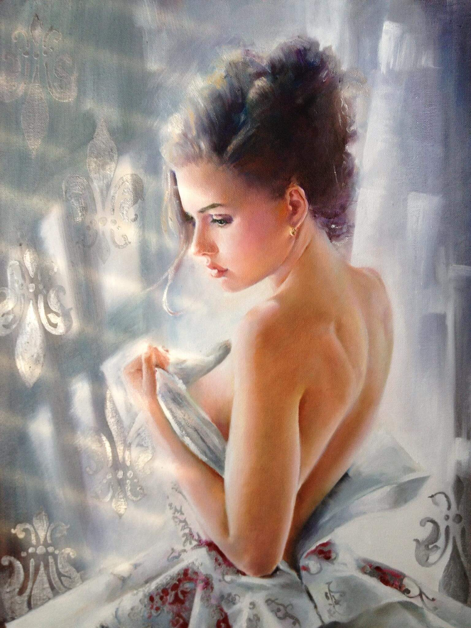 Inspirational Oil Painting Artwork entitled Morning Snowflake, by Artist Olga Duk