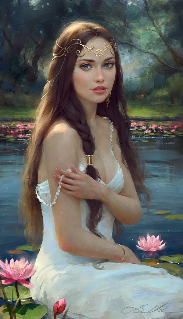 Inspirational Digital Artwork entitled Water Lily Dream, by Artist Selenada