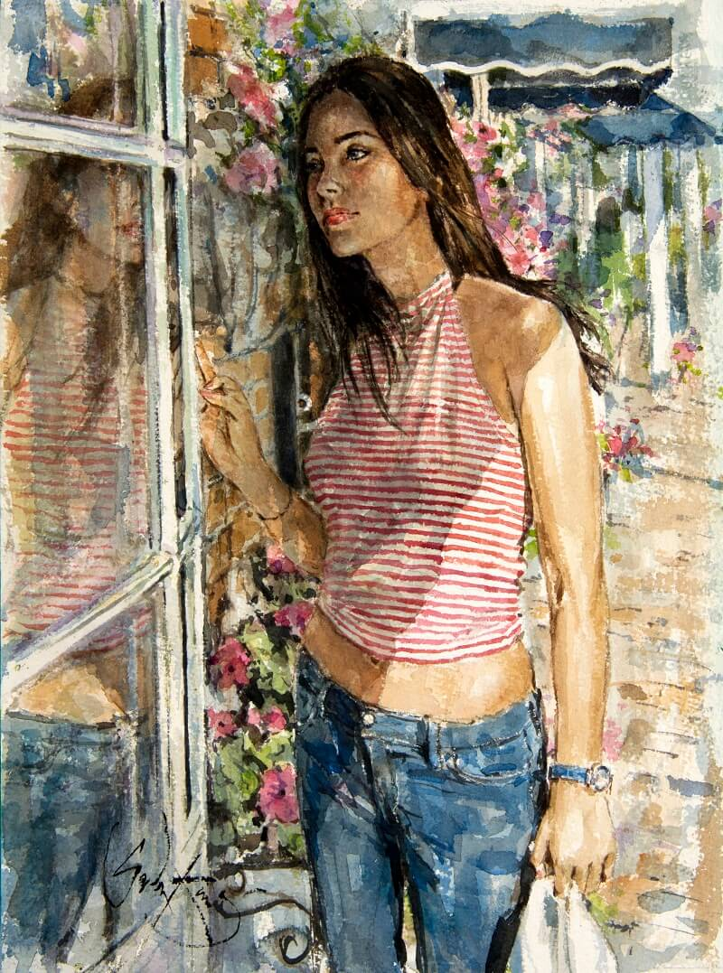 Inspirational Watercolour Artwork entitled Window Shopping, by Artist Gordon King