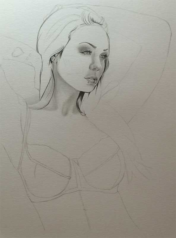 Alexandra, aka Starfucked, Realistic Pencil Drawing Work in Progress image 1, by Artist Sophie Lawson