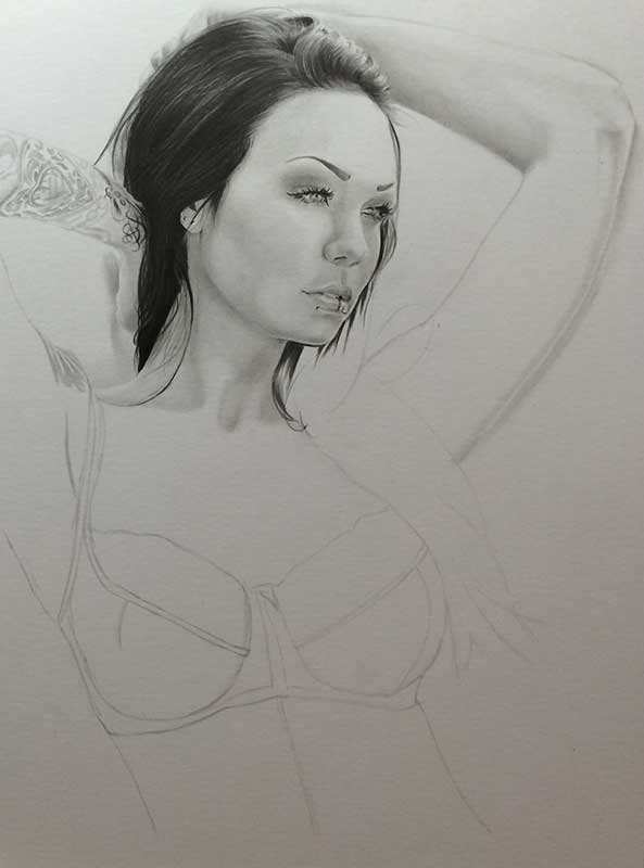 Alexandra, aka Starfucked, Realistic Pencil Drawing Work in Progress image 2, by Artist Sophie Lawson