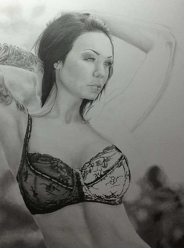 Alexandra, aka Starfucked, Realistic Pencil Drawing Work in Progress image 3, by Artist Sophie Lawson