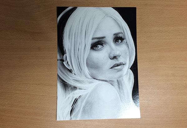 Drawing of Emily Browning Postcard - Newsletter Prize, by Transgender Artist Sophie Lawson