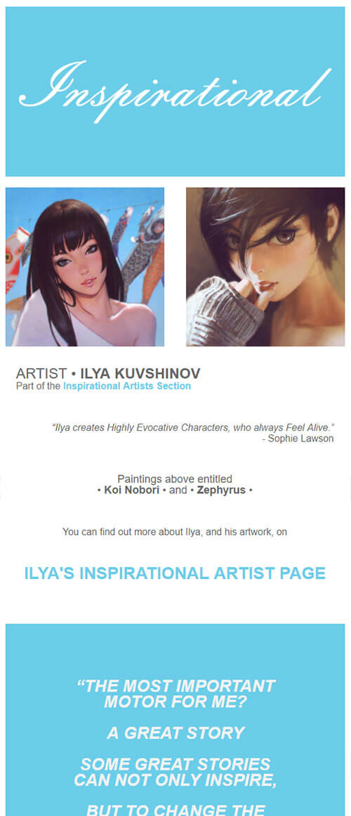 Sophie Lawson Monthly Newsletter Example 003 - Inspirational Artists