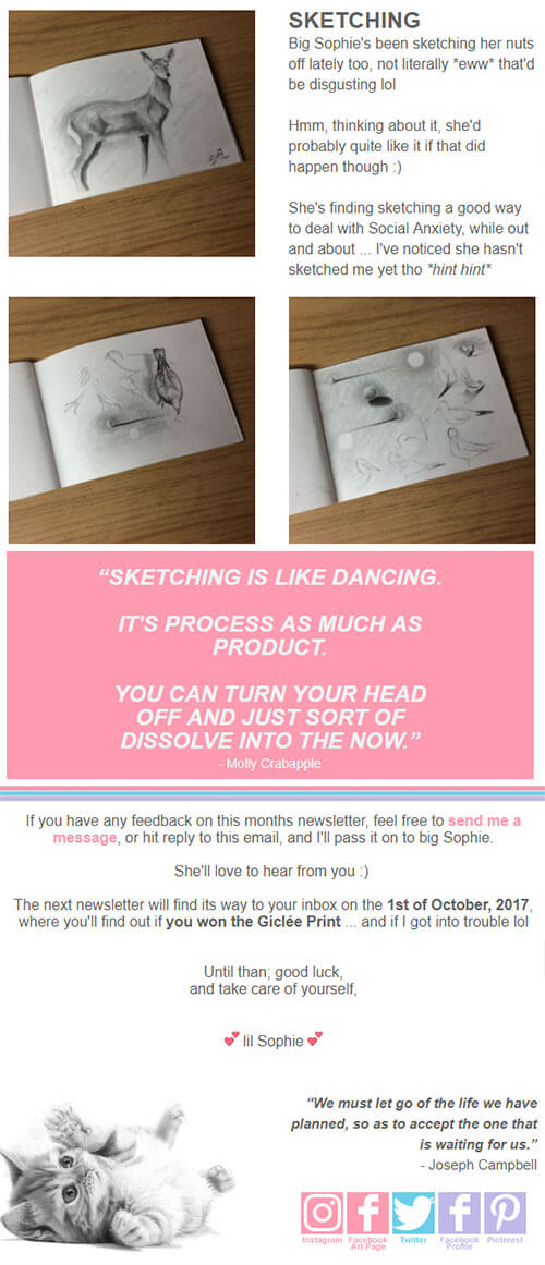 Sophie Lawson Monthly Newsletter Example 004 - Sketching