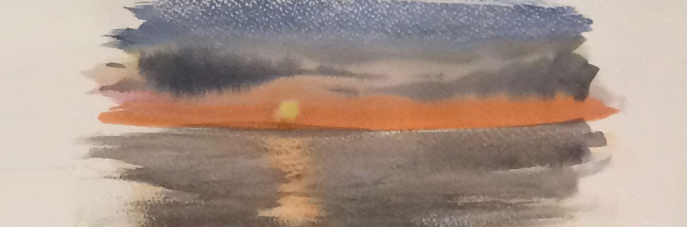 Sun reflecting on Ocean. Produced with candle wax by Watercolour Artist Wendy Parkyn
